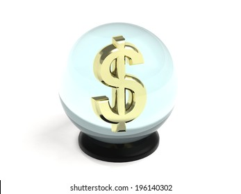 Golden dollar within a crystal ball on a black stand, isolated on white background.