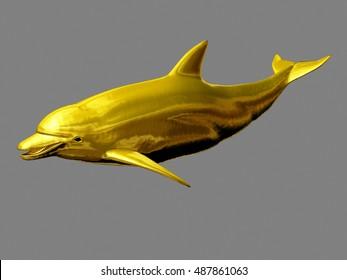 golden dolphin, 3d Illustration