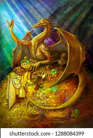 golden dragon on a pile of gold