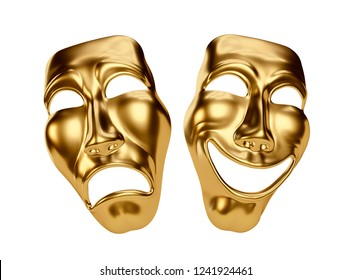 Golden Drama and Comedy Masks isolated on White Background. Clipping path. 3D illustration
