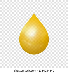 Golden Drop Isolated on Transparent Background, 3D Realistic Illustration.