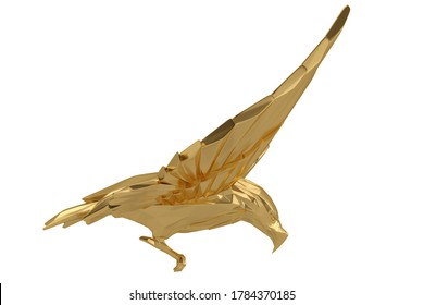 Golden eagle Isolated On White Background, 3D render. 3D illustration.