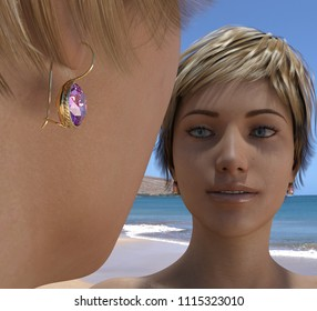 Golden earrings with a violet stone on a generic female figure smiling, also viewed in the mirror, seascape reflected. 3d render.