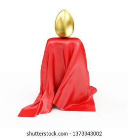 Golden Easter Egg on Stand Covered with Red Cloth Fabric isolated on white background. 3D rendering