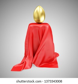 Golden Easter Egg on Stand Covered with Red Cloth Fabric on gradient background. 3D rendering