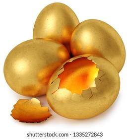 Golden egg and broken golden egg cracked. Isolated on white background. 3d rendering.