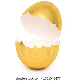 Golden egg with broken eggshell. Investment, money and success concept. Isolated on white background. 3d rendering.