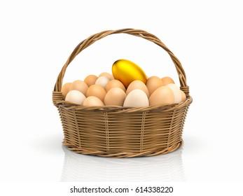 Golden egg! Chicken eggs in rattan basket. 3d illustration
