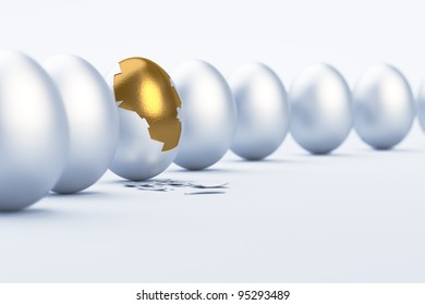Golden Egg. Difference / Uniqueness Concept. 3D illustration