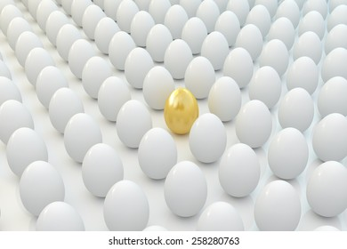 Golden egg in line with other eggs