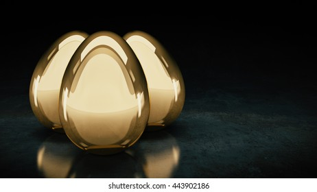 golden eggs. 3D Rendering