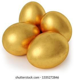 Golden eggs isolated on white background. 3d rendering.