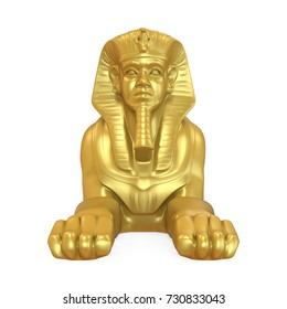 Golden Egyptian Sphinx Statue Isolated. 3D rendering