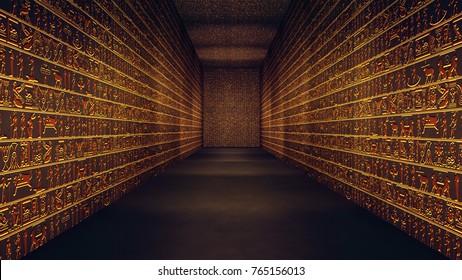 Golden Egyptian Tunnel Hieroglyphs Corridor Illustration
