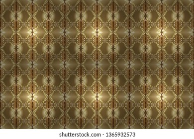 Golden element on beige and brown colors. Golden floral ornament in baroque style. Damask seamless pattern repeating background. Antique golden repeatable wallpaper.