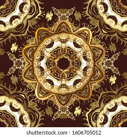Golden element on beige and brown colors. Golden floral ornament in baroque style. Antique golden repeatable wallpaper. Damask seamless pattern repeating background.