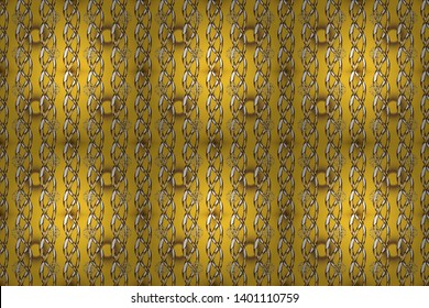 Golden element on yellow and brown colors. Antique golden repeatable wallpaper. Damask seamless repeating pattern. Gold floral ornament in baroque style.