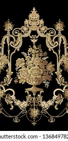 golden elements in baroque, rococo style