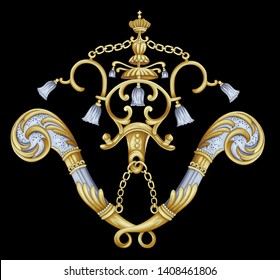 golden elements in baroque, rococo style.