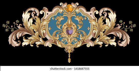 golden elements in baroque, rococo style.   vintage flowers  illustration.
