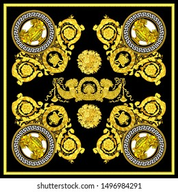 Golden elements in baroque, rococo style with scarf design.