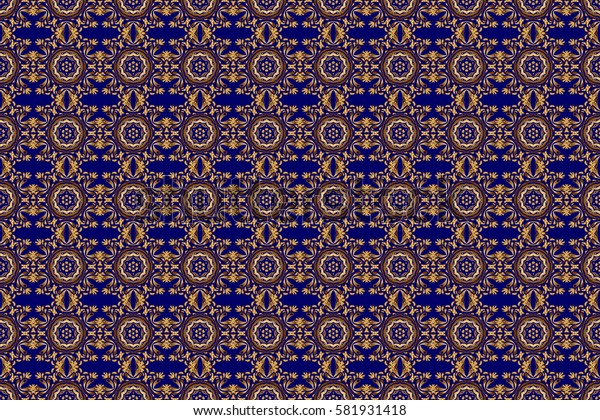 Golden elements isolated on blue background. Ornate raster decoration. Vintage baroque floral seamless pattern in gold over blue. Luxury, royal and Victorian concept.