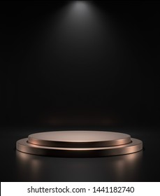 Golden empty podium on black background with spot light,Blank product stand ,3d rendering.