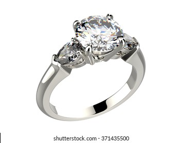 Golden Engagement Ring with Diamond or moissanite. Jewelry