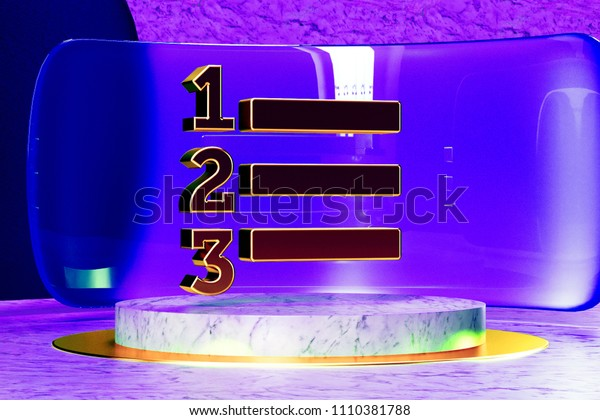 Golden Enumeration List Icon on the Marble and Blue Glass. 3D Illustration of Golden Direction, Learning, List, Numbered, Process, School Icon Set in the Blue Installation.