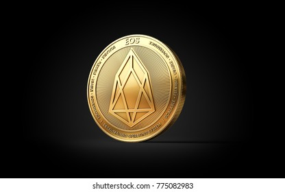 Golden EOS cryptocurrency coin isolated on black background. 3D rendering