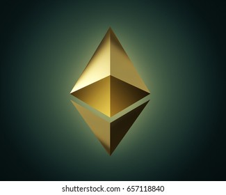 Golden ethereum logo on a dark background. cryptocurrency, digital money