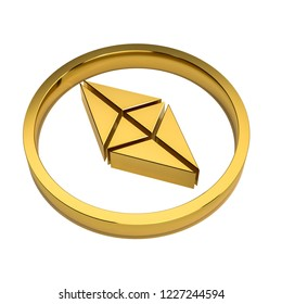 Golden etherium symbol on white background no shadow. 3d rendering