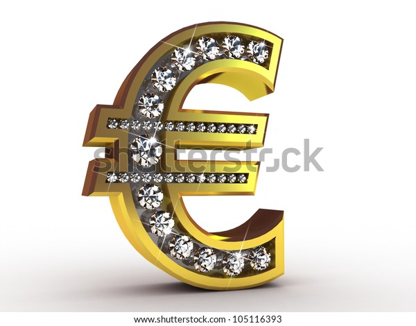 Golden euro encrusted with diamonds, 3D images