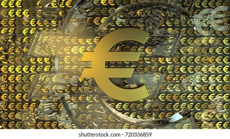 Golden euro sign on top of background from a large amount of gold and glass euro symbols. 3d rendering