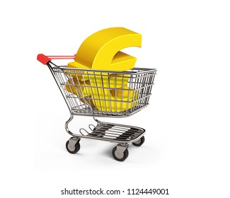 Golden euro sign in the shopping cart, side view, isolated on white, 3D illustration.