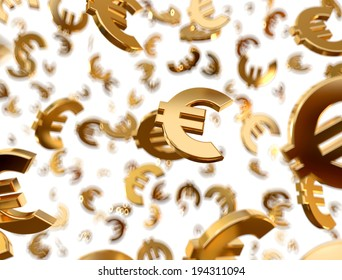 Golden euro signs falling on the white background.