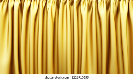Golden fabric. Gold stage silk curtain. Beautiful horizontal background. High resolution.
