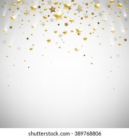 golden falling stars on a light background