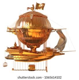 Golden Fantasy Airship Zeppelin Dirigible Balloon 3D illustration isolated on white