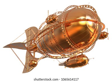 Golden Fantasy Airship Zeppelin Dirigible Balloon 3D illustration isolated on white