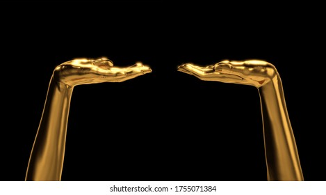 Golden Female Hand Gesture Present or Stand by. Set of Various Views. 3D Render Isolated on Black Background.