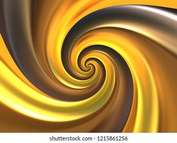 Golden Fibonacci Logarithmic Spiral - Gold Abstract Texture - Shiny Metallic Background