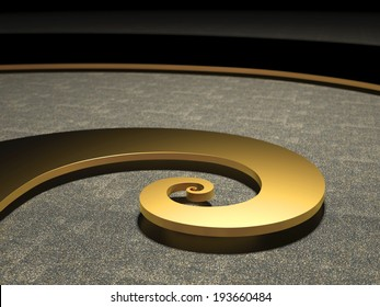 Golden Fibonacci Spiral bright illuminated symbol for nature science and discovery