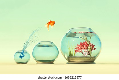 Golden fish jump over a fishbowl to another . This is a 3d render illustration .