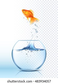 Golden fish jumping high out the round fishbowl with clear water light checkered background poster  illustration