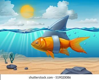 Golden fish wearing a shark fin. Digital illustration.