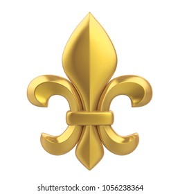 Golden Fleur-de-lis Isolated. 3D rendering