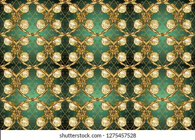 Golden floral seamless pattern. Golden element on a green and brown colors. Gold floral ornament in baroque style. Damask background.