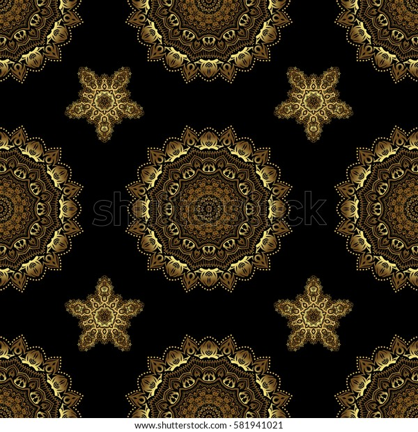 Golden floral seamless pattern. Ornate decor for invitations, greeting cards, thank you message. Greed and vignette for design. Elements in Victorian style on a black backdrop.