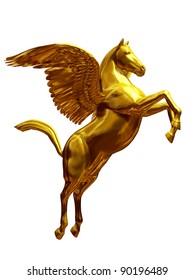 golden, flying Pegasus